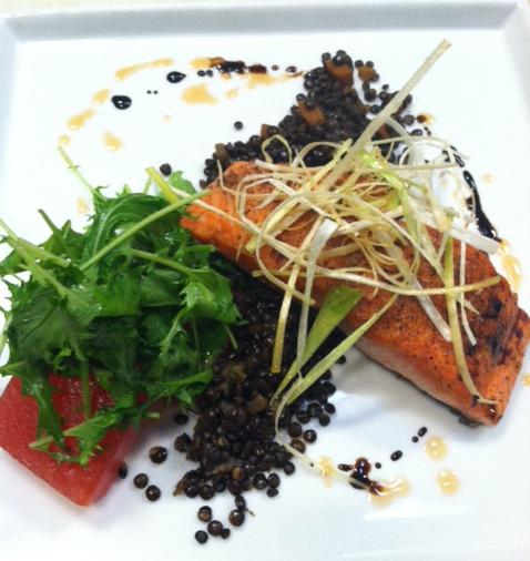 Salmon and mizuna