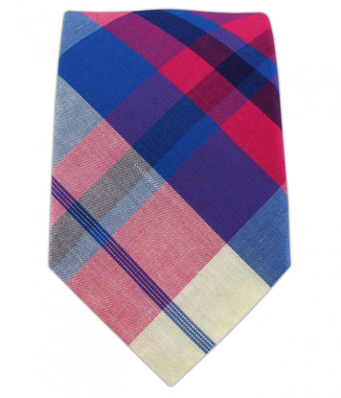 Pink and Blue Biltmore Plaid Tie Bar
