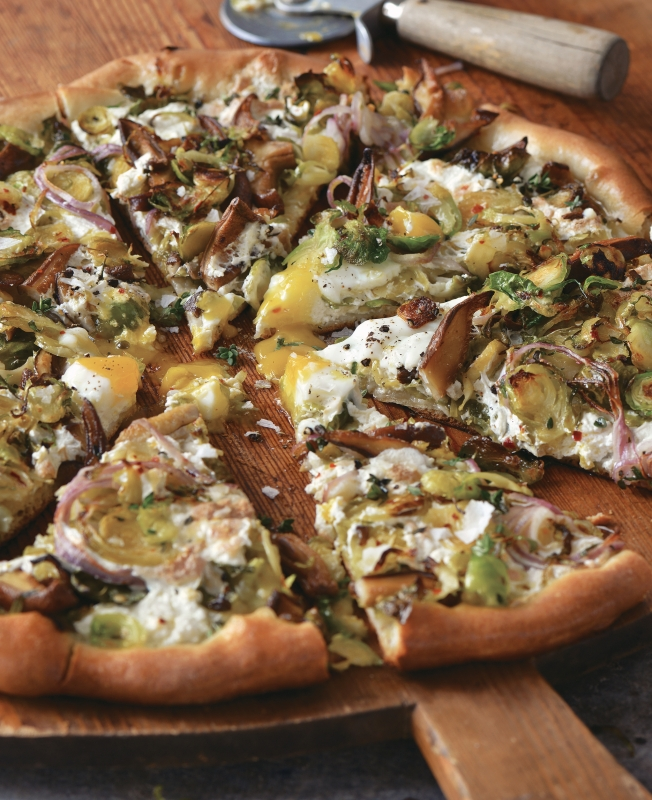 Kimchi, Bacon And Shiitake Mushroom Pizza Recipe — Dishmaps